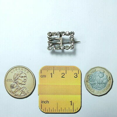 Lovely Antique Victorian Small Silver & Diamond Paste Buckle Brooch