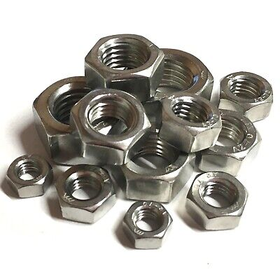 "1/4 5/16"" 3/8"" 7/16"" 1/2"" 5/8"" Unc Hexagon Full Nuts A2 Stainless Steel Imperial"