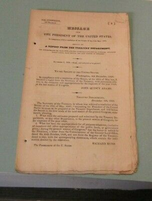 Antique 1828 Message From The President of the United States John Quincy Adams