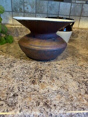 Antique Cast Iron Porcelain Spittoon With Gold Band-Nice Condition