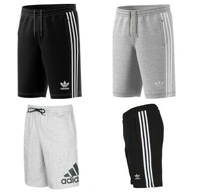 Adidas Originals French Terry Cotton Gym Sports Shorts Knee Length Zip Pockets