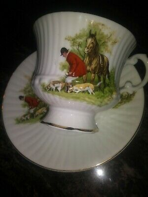 Royal Tara Cup  Saucer Fox Hunting Scene Galway Ireland