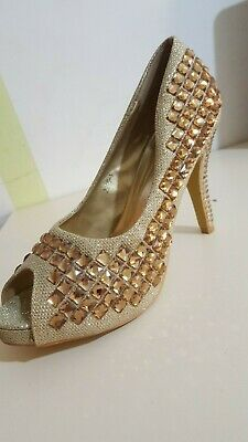 Nice Sparkle Heels Sandals Womens Golden Glitter Inlaid With Golden Beads Size