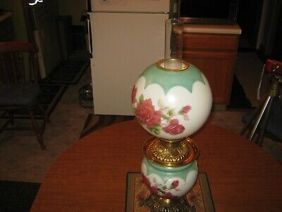 Working Circa 1900 Victorian Roses Hand Painted Gone With The Wind Oil Lamp,