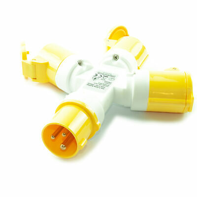 3 Way 16A 110V 3 Pin Splitter Adapter for Building/ Industrial Sites - YELLOW
