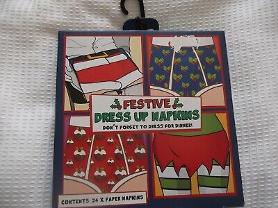 24 Christmas Dress Up Fun Festive Paper Napkins 4 Different Designs