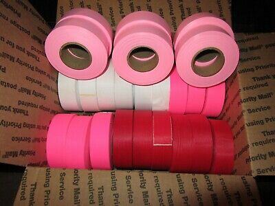 """24 Rolls Flagging Tape 1 3/16"""" x 300ft  Mixed Colors"""