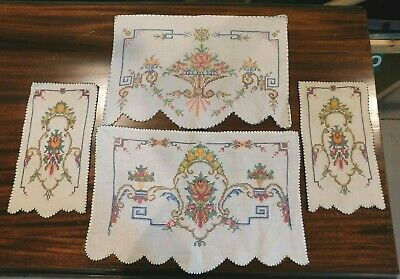 Vintage Set of 5 Hand Embroidered Dresser Scarf Table Runner Vanity Doily Floral