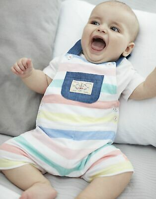 Joules Baby Duncan Jersey Dungaree And Top Set in WHITE MULTI STRIPE