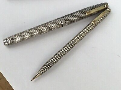 Sheaffer Sterling Silver Fountain Pen, 14k Nib, and Sterling Prop Pencil, 1970's