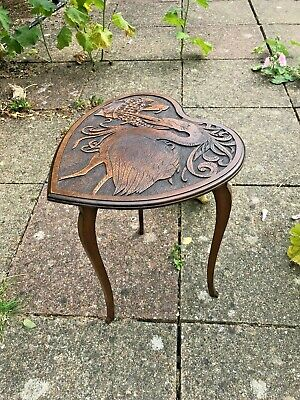 19th C Army & Navy C.S.L Aesthetic  Art&Craft carved oak table stork crane fish