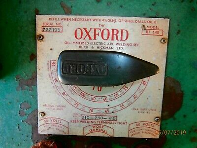 OXFORD arc/stick welder. Old technology. Very heavy. Up to 140 amp. AC 240/415 v