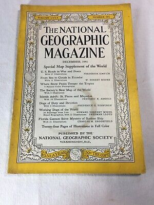 National Geographic December 1941 • Working Dogs • Coke Santa Claus • No Map