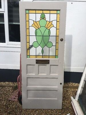 STAINED GLASS FRONT DOOR ART DECO PINE 20s 30s RECLAIMED OLD PERIOD LEAD ANTIQUE