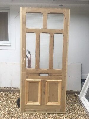 Large Victorian Edwardian Front Door Old Period Reclaimed Pine Wood Glazed Arts