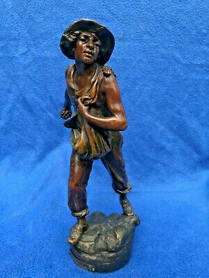 Early 20th C spelter Farmer / Sower figure after Alfred Foretay 1861 - 1944