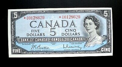 1954 BANK OF CANADA $5 Dollars Replacement Note *V/S 0128629 BC-39bA