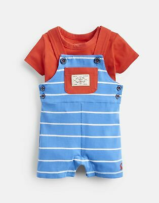 Joules 204677 Jersey Chambray Mix Shortie Dungaree in WHITBY BLUE STRIPE