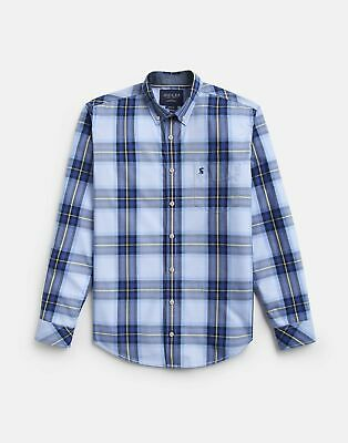 Joules 207603 Long Sleeve Classic Fit Poplin Shirt in BLUE CHECK
