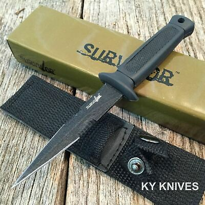 """6.5"""" Double Edge Military Tactical Fixed Blade Boot Knife Throwing HK-740BK k"""