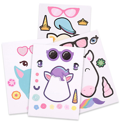 Howaf 24 Sheets Make a Unicorn Stickers For Kids, Unicorn Birthday Party Favors