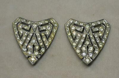 Vintage Pair Art Deco Silver Tone Pot Metal Cry Rhinestone Pave Dress Clip