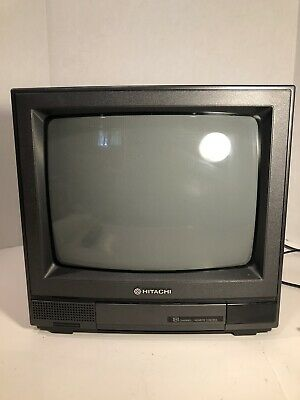 "Vintage 1991 13"" Hitachi CT1394W CRT Solid State Wood Grain Color TV Television"