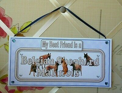 Malinois My Best Friend is a Dog Plaque Card Wall Hanging Sign Belgian Shepherd