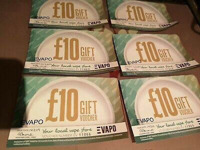 Evapo Gift Voucher Local vape store shop value £60.00