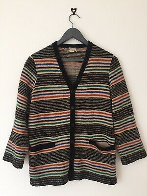 Vintage Stripy Womens Cardigan St Michael With Pockets, fits Size 12 Or Smaller