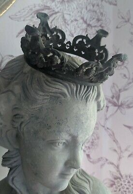 Gorgeous C19th French Bronze Crown Decorative Embellishment Time Worn Patina