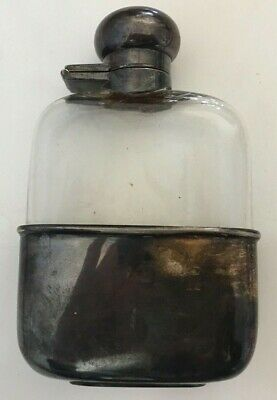 """Antique Glass and Silver Liquor Flask from England 5"""" tall"""