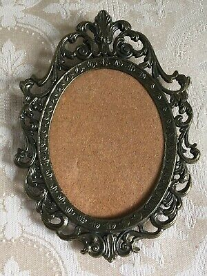 Vintage Small Ornate Brass-Tone Metal Oval Picture Frame Made in Italy