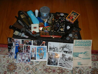 Junk Drawer David Robinson Cards,Orphan Earring Lot,Lead Glass Crucifix,Coins+++