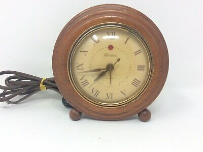 Vintage Rare Telechron Model 7H133 Wood Electric Alarm Clock Works Great!