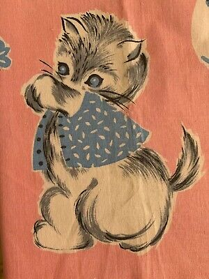 """Vtg 30s 40s Cotton Fabric Kittens On A Pink Background 36.5"""" STo S By 1 Yard"""