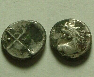 Rare genuine Ancient Greek silver coin CHERSONESOS in THRACE 400BC Lion sun Moon