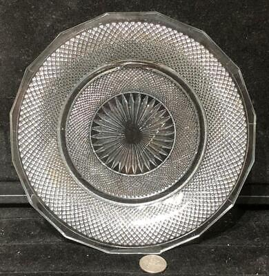 """Antique Pressed Glass  """"Diamond Point"""" Plate, Illustrated Lee #44, c. 1840"""