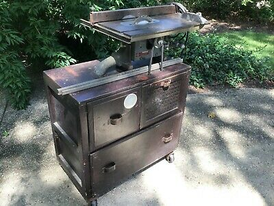 Vintage *CAST IRON* Delta Homecraft 8-inch Table Saw with custom built cabinet