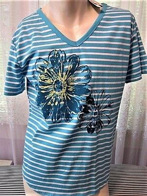 SILVERWEAR NY STRIPED SHORT SLEEVE PULL-ON COTTON BLEND WOMAN's SOFT TOP SZ. XL