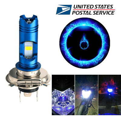 1 PC White 16W H4 Dual Color LED Moped Motorcycle Headlight Bulb with Blue Light