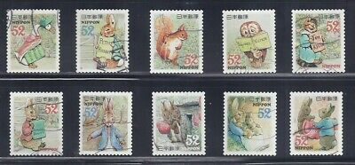 Japan 2015 Peter Rabbit by Beatrix Potter Complete Used Set Sc# 3782 a-j 52Y