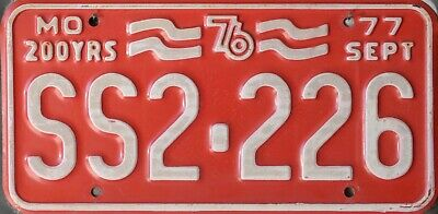USA Number Licence Plate MISSOURI 200 YEARS