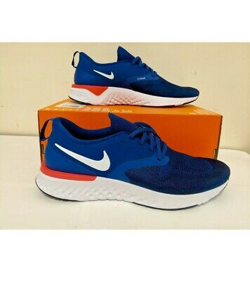 New NIKE Odyssey React 2 Flyknit Men's Running Shoes indi blue orange sz 12