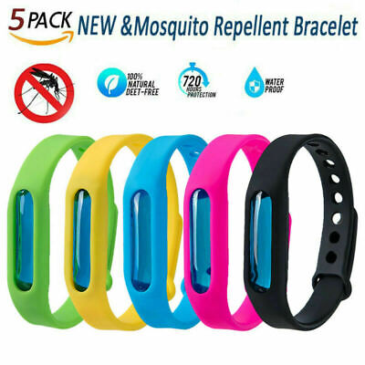 5x Natural Anti Mosquito Band Kit Insect Essential Oil Bug Repellent Bracelet US