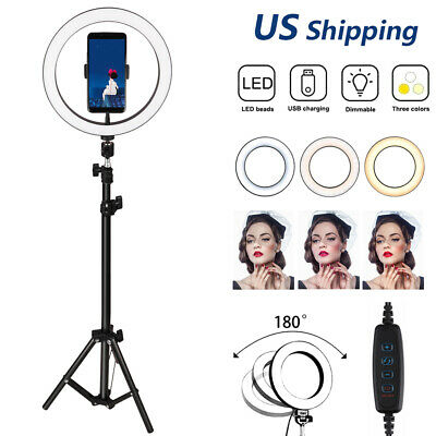 """LED Ring Light 10"""" w/Tripod Stand for Camera Phone Selfie Live Dimmable Lighting"""