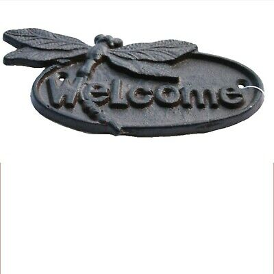 Welcome Dragonfly Cast Iron Sign Vintage Antique Rustic Style