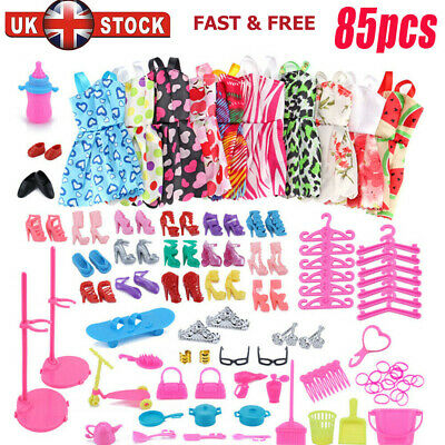 Barbie Doll Dresses, Shoes and jewellery Clothes Accessories 85pcs/Set