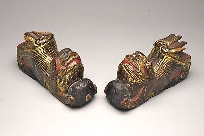 Pair Antique Chinese Carved Gold Leaf Foo Lions House Guardians L19th.C.