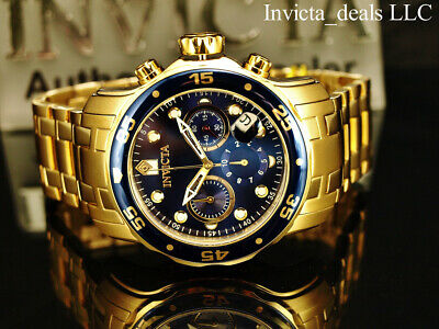 Invicta Men's 48mm Pro Diver Scuba Chronograph Blue 18KT Gold Plated SS Watch
